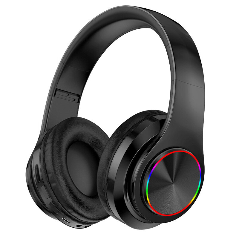 Bakeey B39 Luminous bluetooth 5.0 Headset Head-mounted Wireless Headphones Heavy Bass Surround Stereo Colorful LED Lights Outdoor Sport