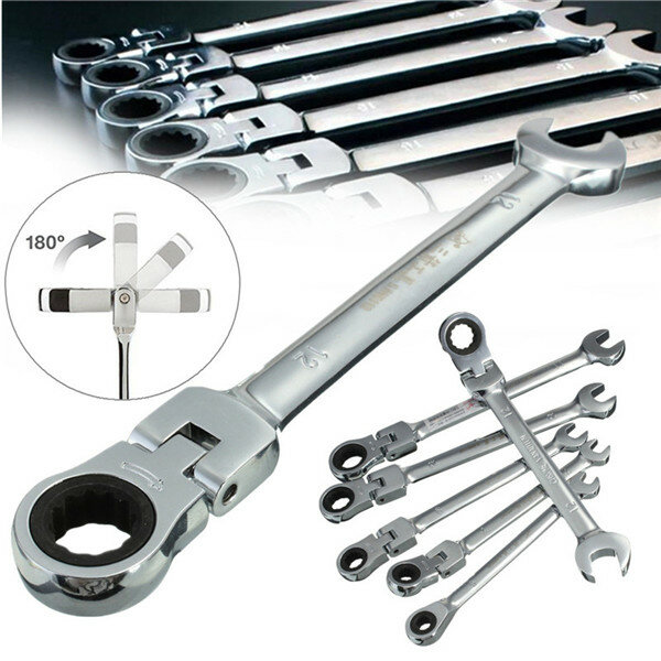 Ratchet Spanner Tool Set Flexible Ratcheting Wrench Spanners Garage Repair Tool