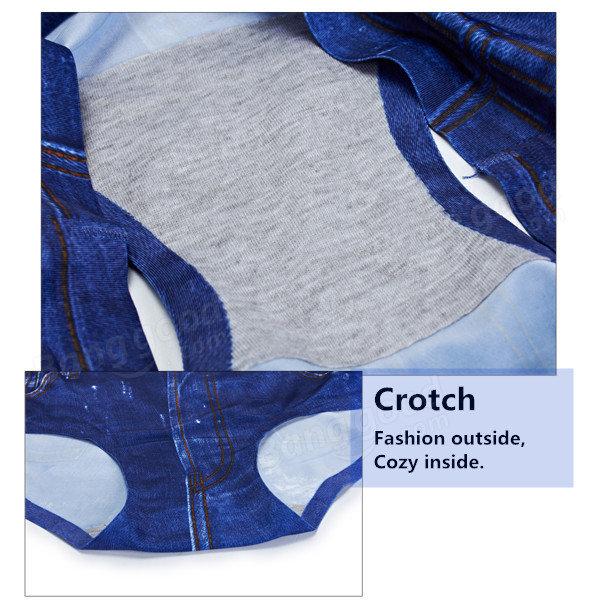 Women 3D Jean Printing Panties Seamless Comfort Soft Briefs Underwear - 8