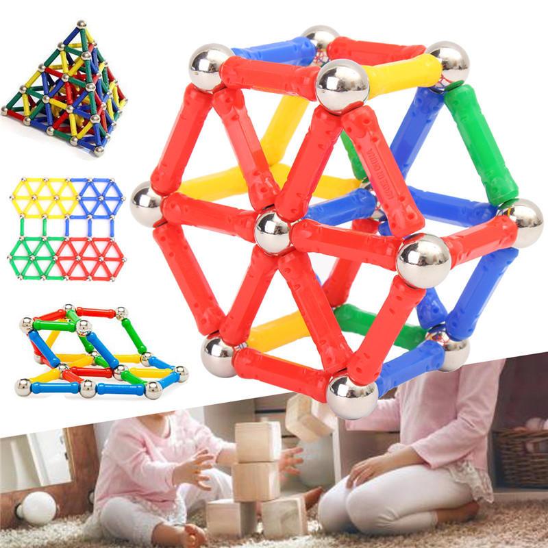 103PCS אבני הבניין מגנטי הגדר בנייה DIY מקלות לילדים ילדים צעצועים חינוכיים צעצועים