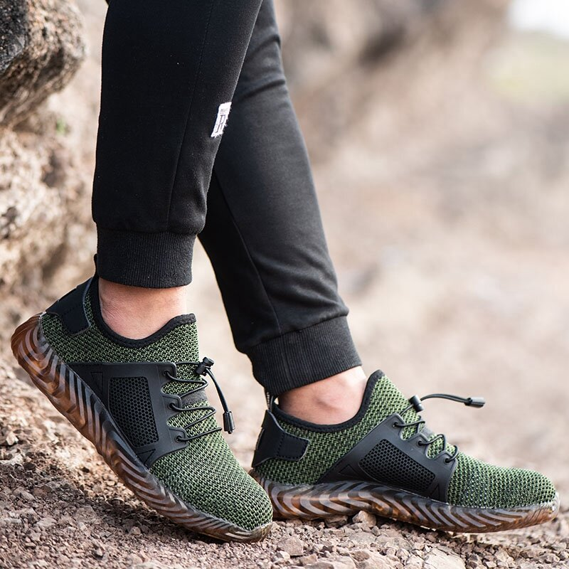 Automatic Shrink Shoelace Hiking Steel Toe Work Safety Mesh Anti slip Anti Collision Climbing Shoes - 8