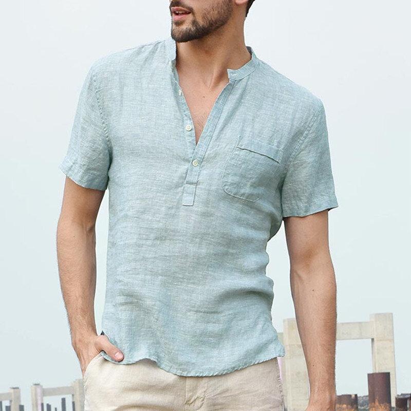6d08cd8fc943 INCERUN Men's Button V-Neck Casual T-shirts Summer Short Sleeve Comfort  Loose Solid Color Tops Tees - Khaki S COD