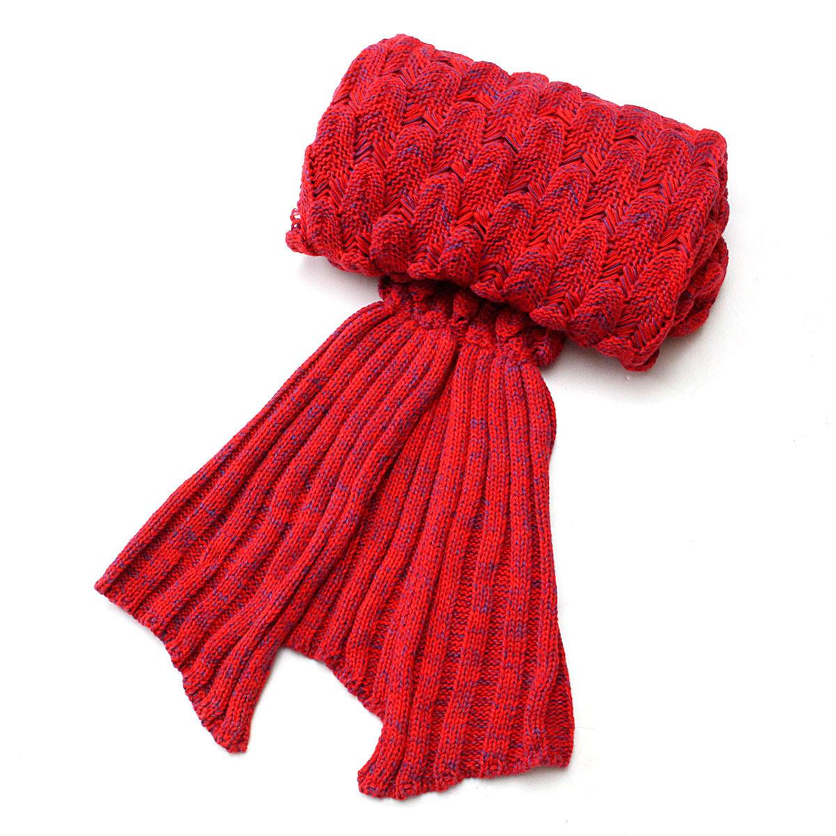 195x90cm Yarn Knitted Mermaid Tail Blankets Handmade Crochet Throw Super Soft Sofa Bed Mat - 7