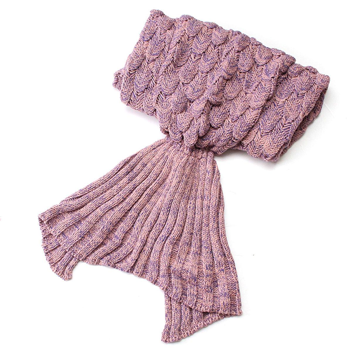 195x90cm Yarn Knitted Mermaid Tail Blankets Handmade Crochet Throw Super Soft Sofa Bed Mat - 4