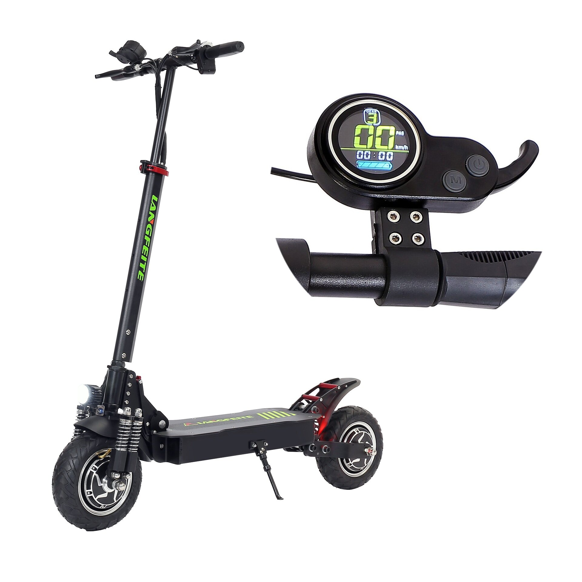 LANGFEITE L8S 2019 Version 15Ah 48.1V 800W*2 Dual Motor Folding Electric Scooter Color Display DC Brushless Motor 45km/h Top Speed 40km Range EU Plug