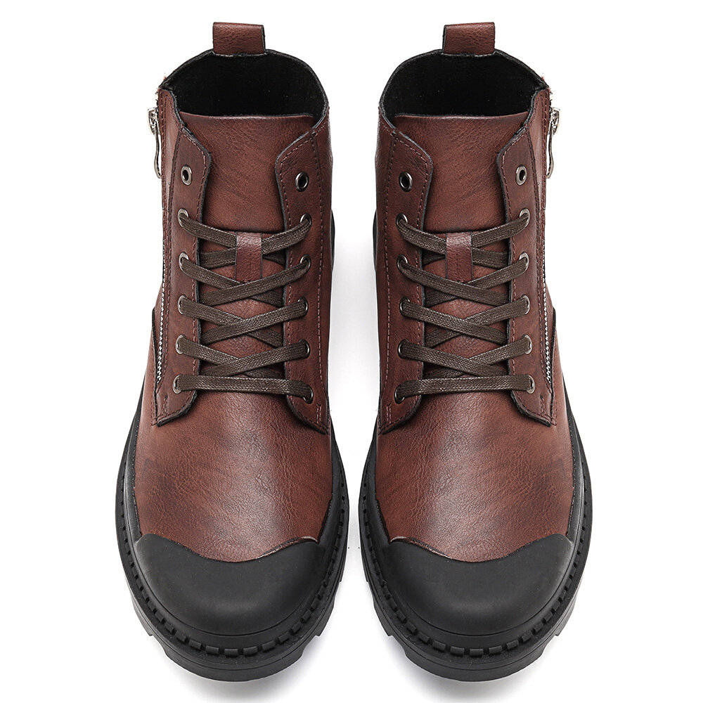 Comfy Men Leather High Top Sneakers - 10