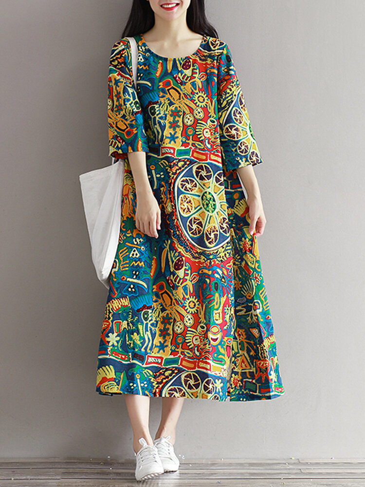Casual Women Floral Printed Loose 3/4 Sleeves O-Neck Dress