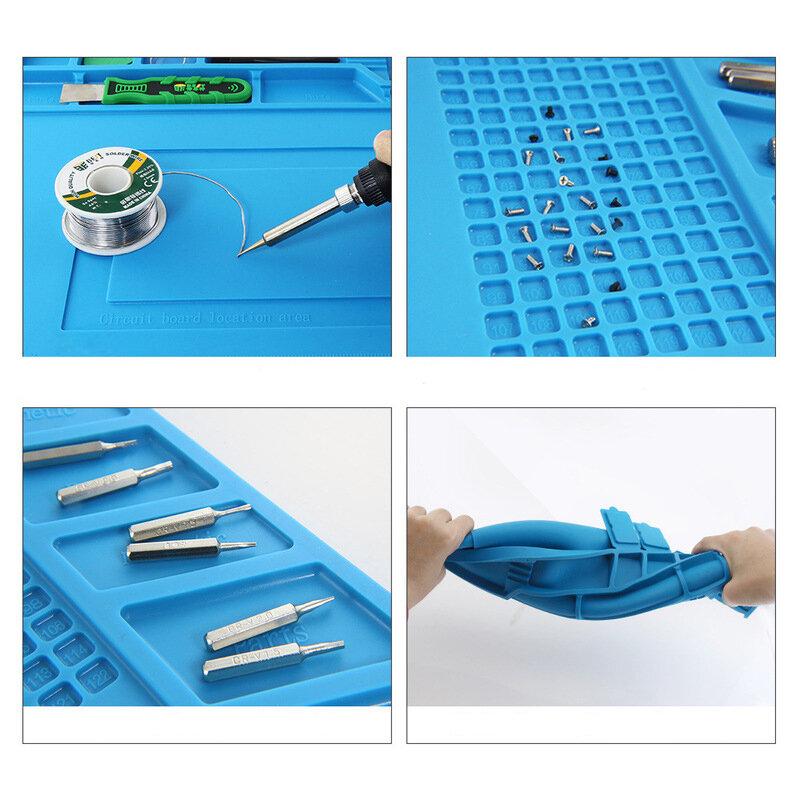DANIU 49 x 35cm Big Size Magnets Heat Insulation Silicone Pad Soldering Repair Station Platform - 4