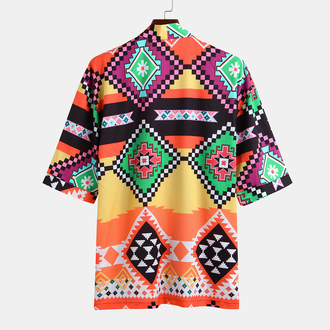 Mens Fashion Colorful Printed Loose Comfy Half Sleeve Casual Cardigans - 3