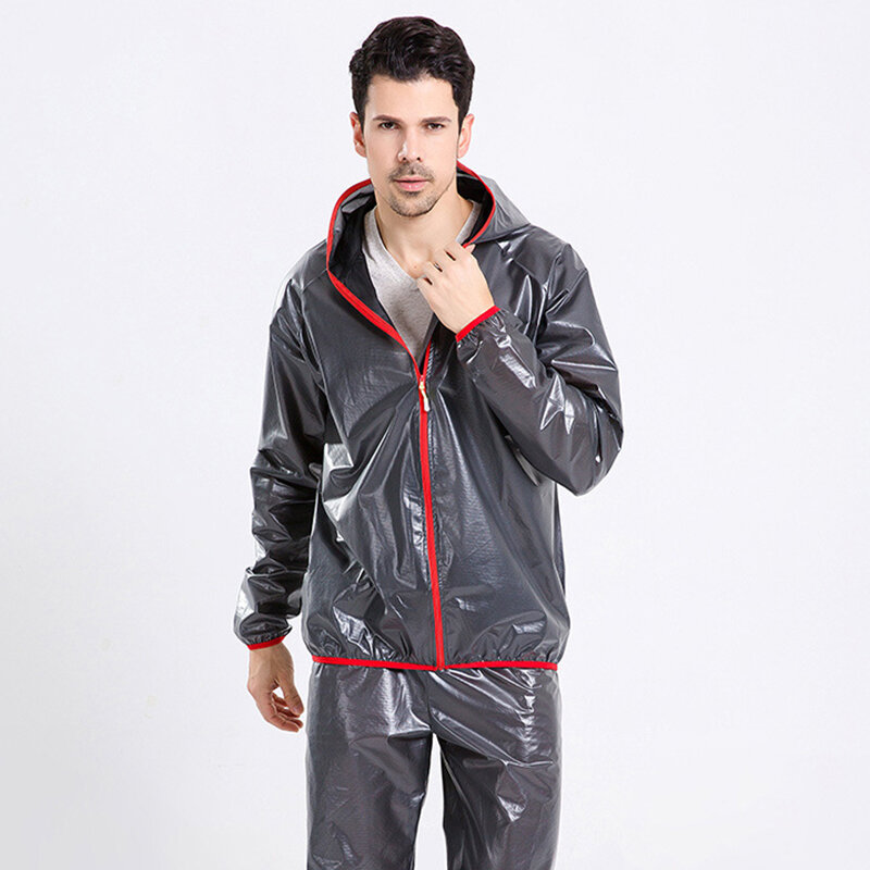 Men's Outdoor Breathable Waterproof Hooded Solid Color Windproof Riding Raincoat Suit