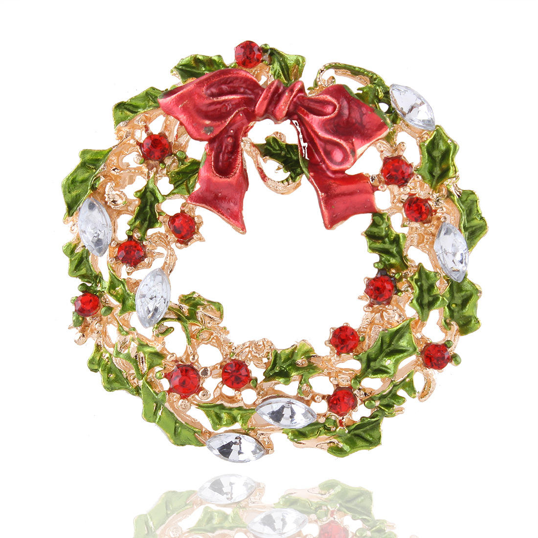 Christmas Tree and Wreath Brooch New Year Decorations Gift Shirt Collar Brooch