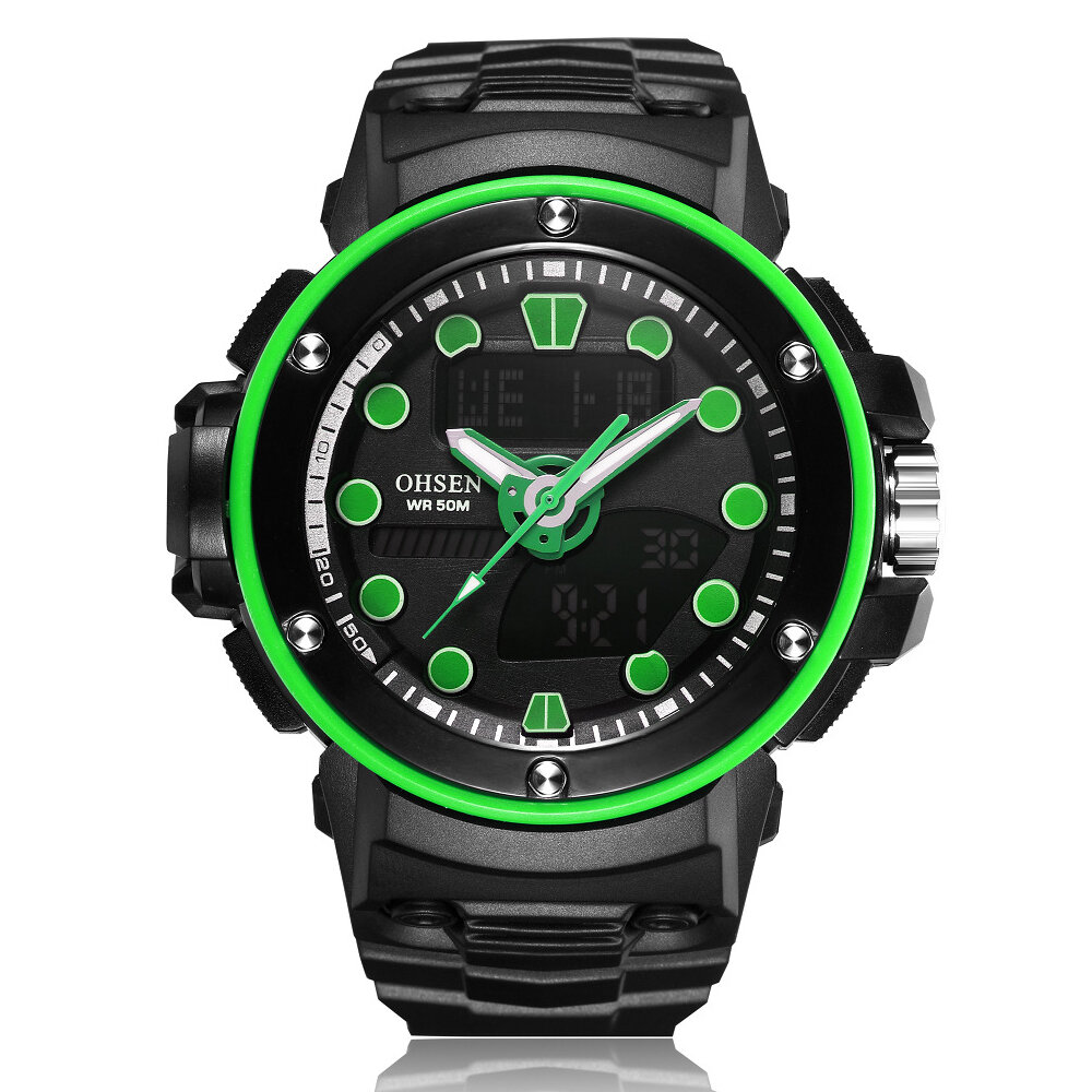 OHSEN AD1712 Dual Display Digital Menonton Outdoors Sport Men Luminous Alarm Waterproof Menonton