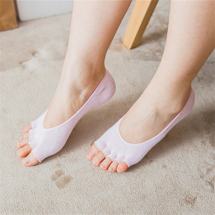 so cheap buy cheap for whole family Women Breathable Anti-skid Half Toe Yoga Socks Cotton Soft Invisible Full  Five Toes Socks