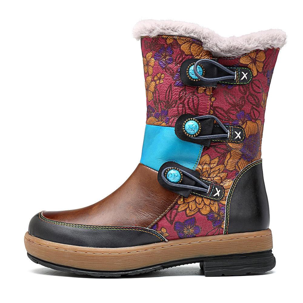 Women Retro Leather Lace Up Block Heel Short Boots - 1