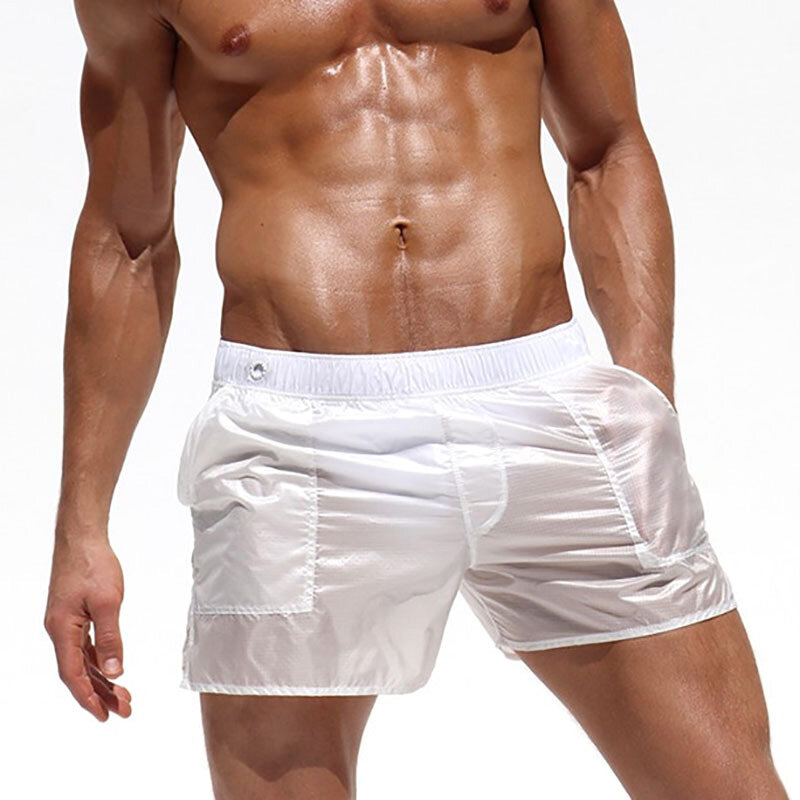 Mens Fashion Sexy Translucent Solid Color Sport Polyester Beach Board Shorts