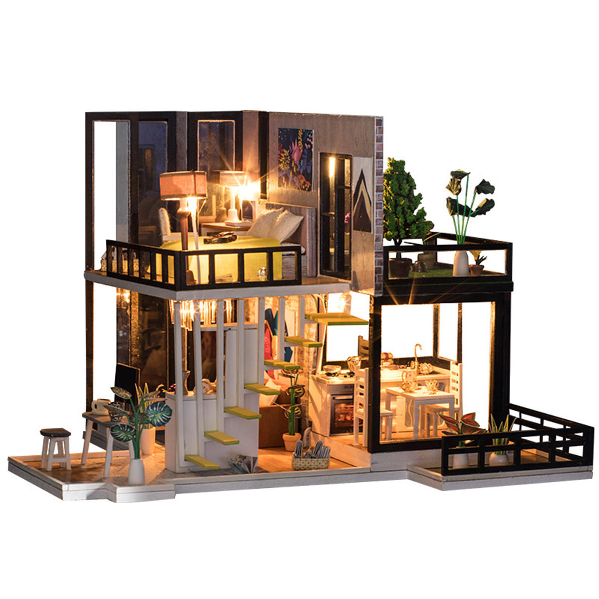 DIY Dollhouse Miniature Kit Doll House With Furniture Gift Craft Toy - 1
