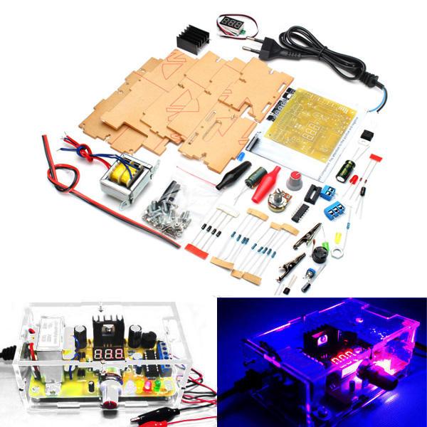 Geekcreit® EU Plug 220V DIY LM317 Adjustable Voltage Power Supply Module  Kit With Case
