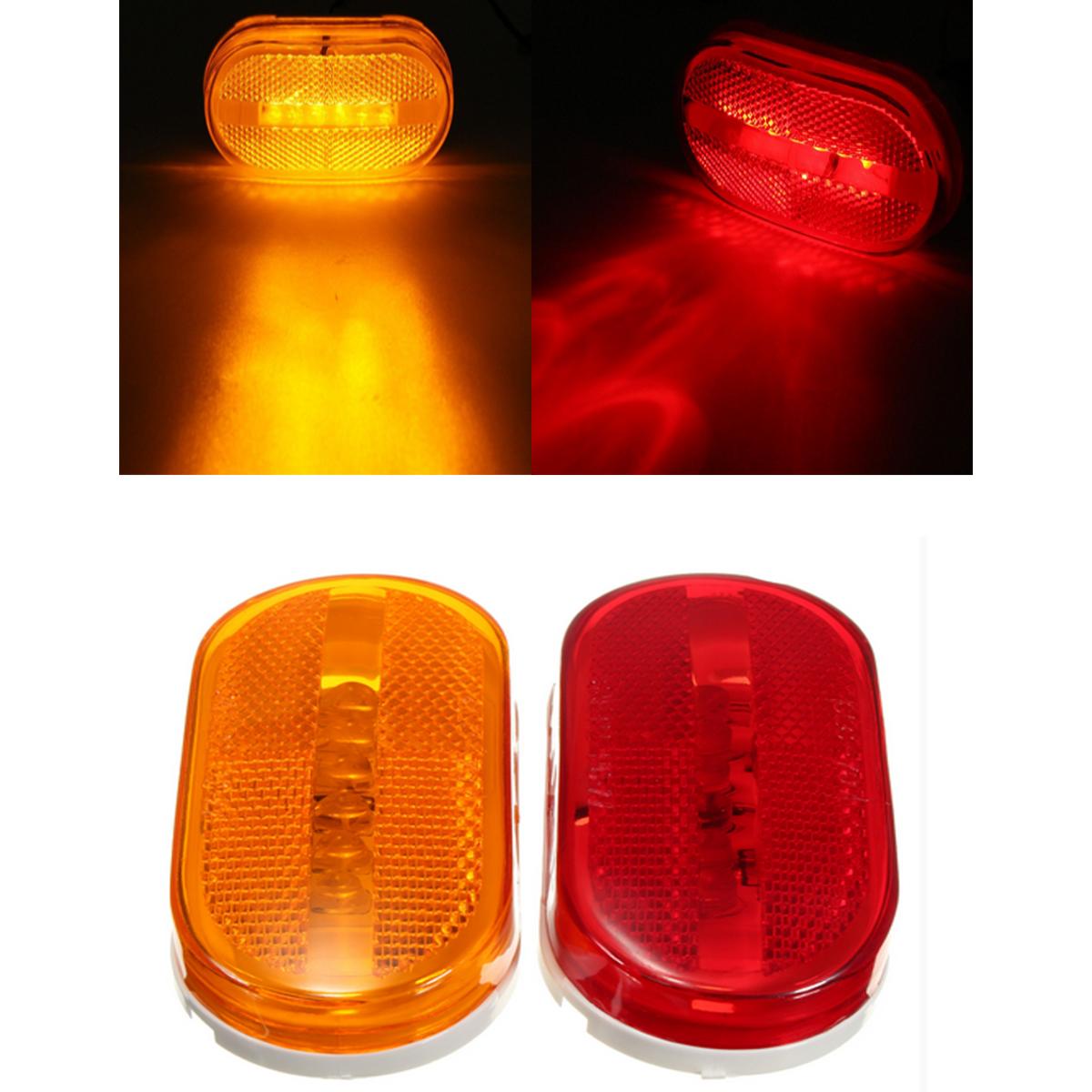 משאית רכב אדום צהוב ענבר 6 לד חרוזים מלבן פינוי סמן צדדי מחוון אור