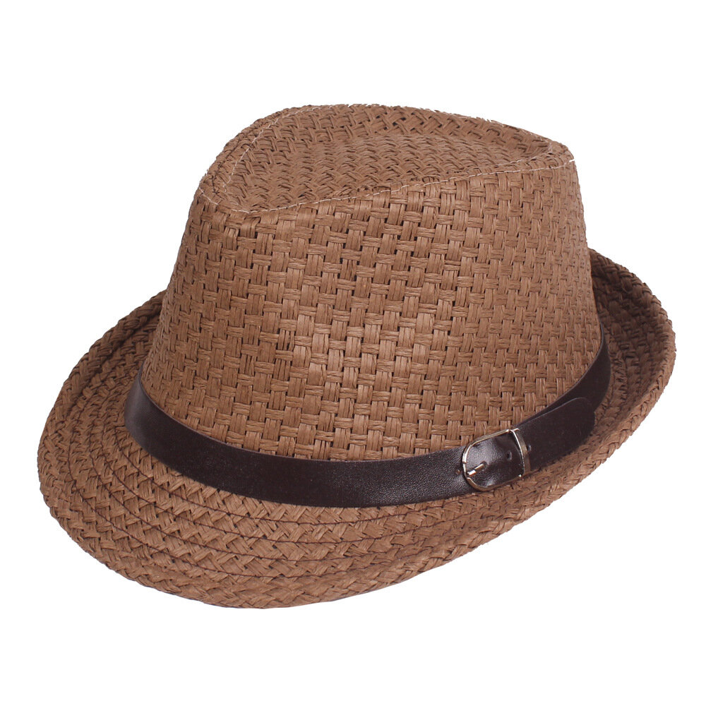 7dd9a4c21047f4 Men Summer Woven Jazz Straw Hat Outdoor Sun Protection Short Brim Fedora Hat  Visor COD