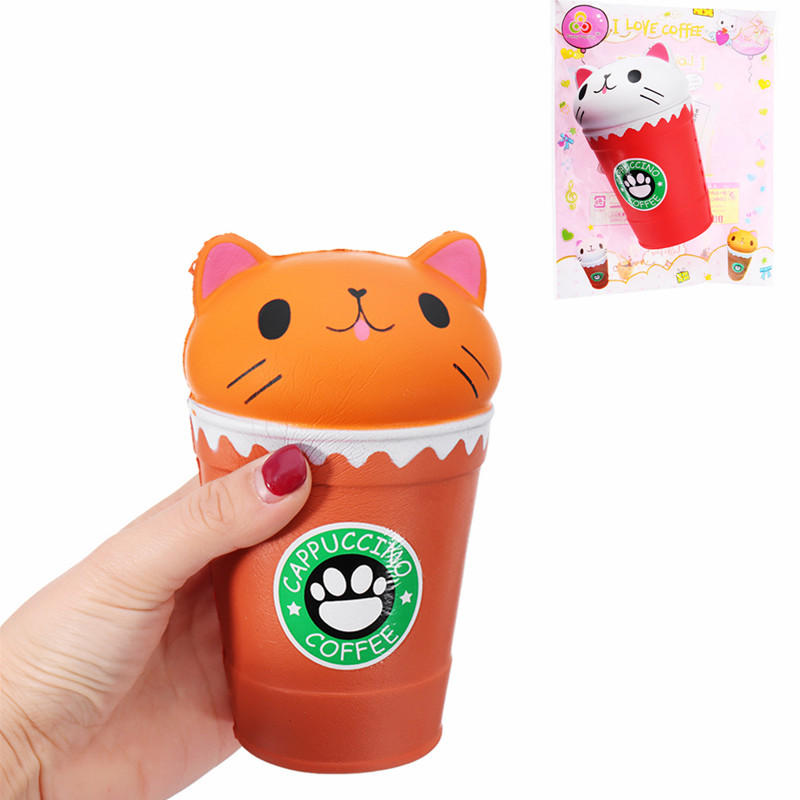 Sunny Squishy Cat Coffee Cup 13.5*8.5CM Slow Rising Soft Animal Toy Gift With Packing