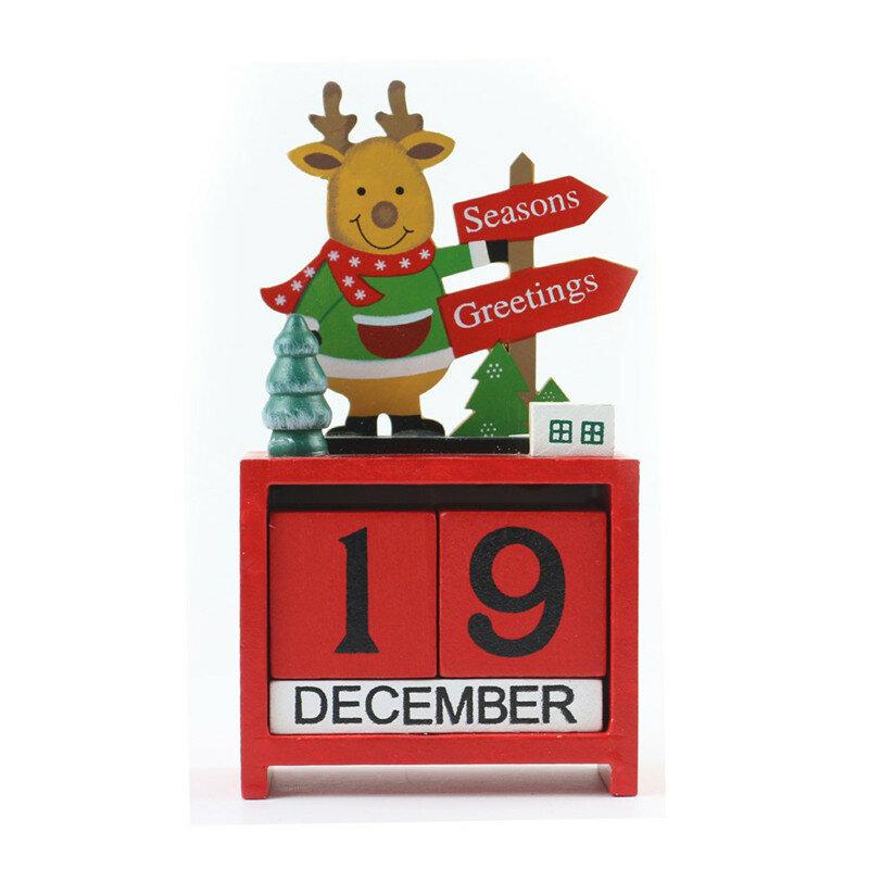 KerstCreatieveGiftMiniHoutenKalender Home Ornament Tafel Bureau Decor Elanden Kerstman - 4