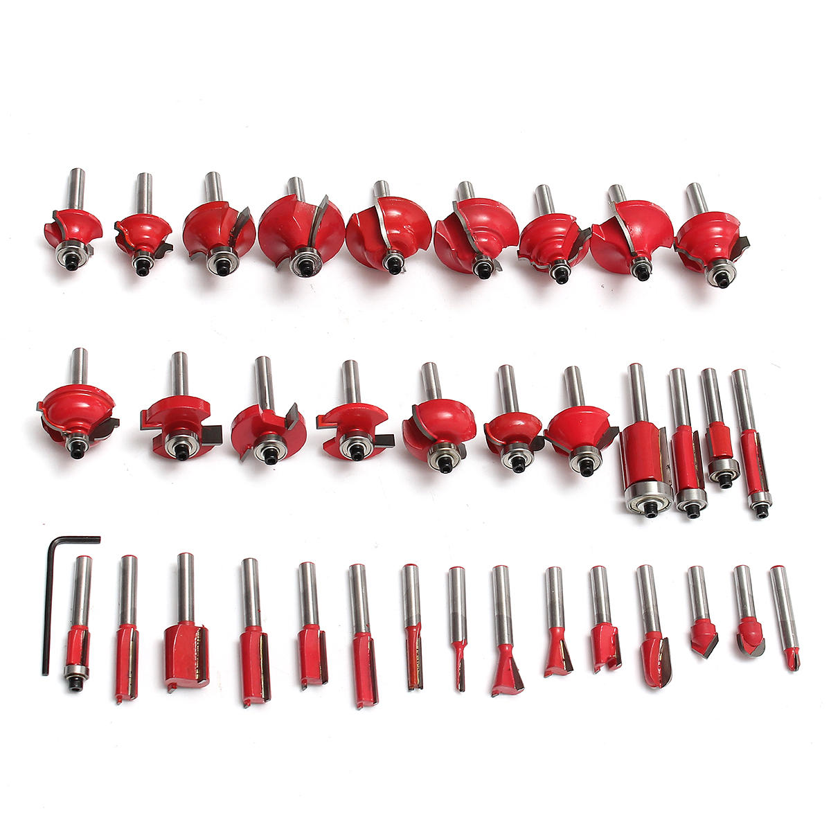 15pcs 8mm Shank Router Bit Tungsten Carbide Rotary Tool Wood Cutter - 5