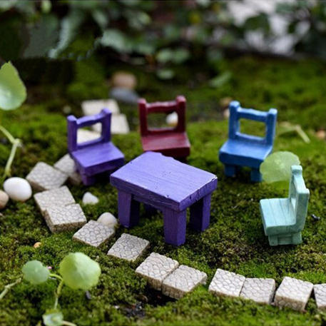 Mini Resin Stool Chair Desk Figurine Micro Landscape Ornament Gardening Decoration DIY Bonsai Craft - 1