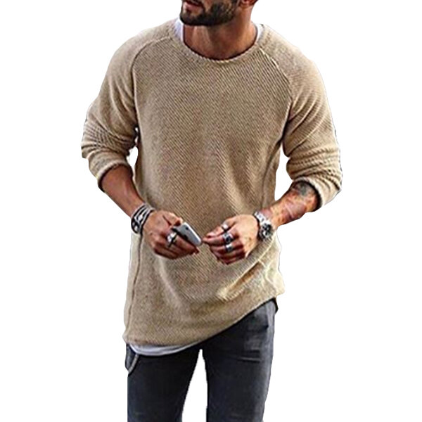 Fashion Men's Knitting Solid Color O Neck T shirt Long Sleeved Regular Fit Casual T shirts - 2
