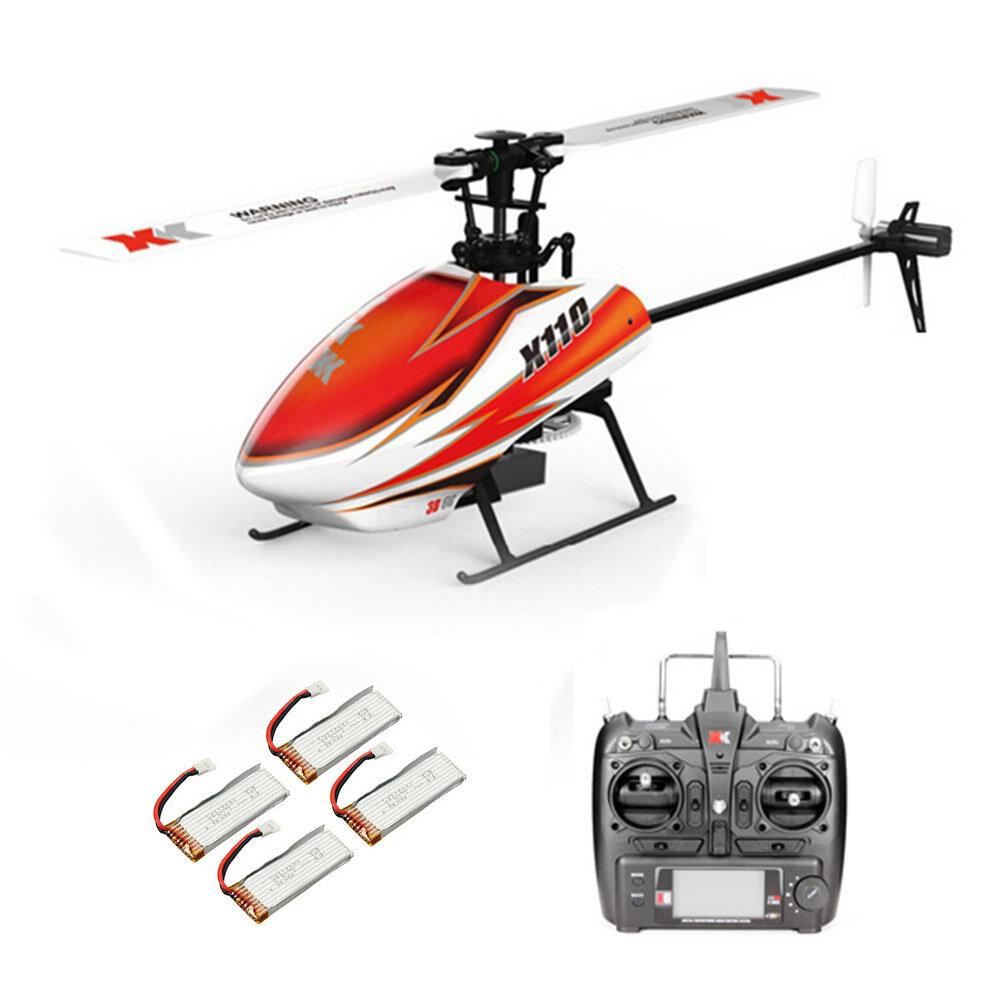 XK K110 2.4G 6CH 3D Flybarless RC Helicóptero RTF Compatible con FU-TABA S-FHSS Con 4PCS 3.7V 450MAH Lipo Batería