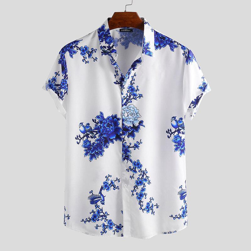 Men Porcelain Floral Print Short Sleeve Relaxed Shirts