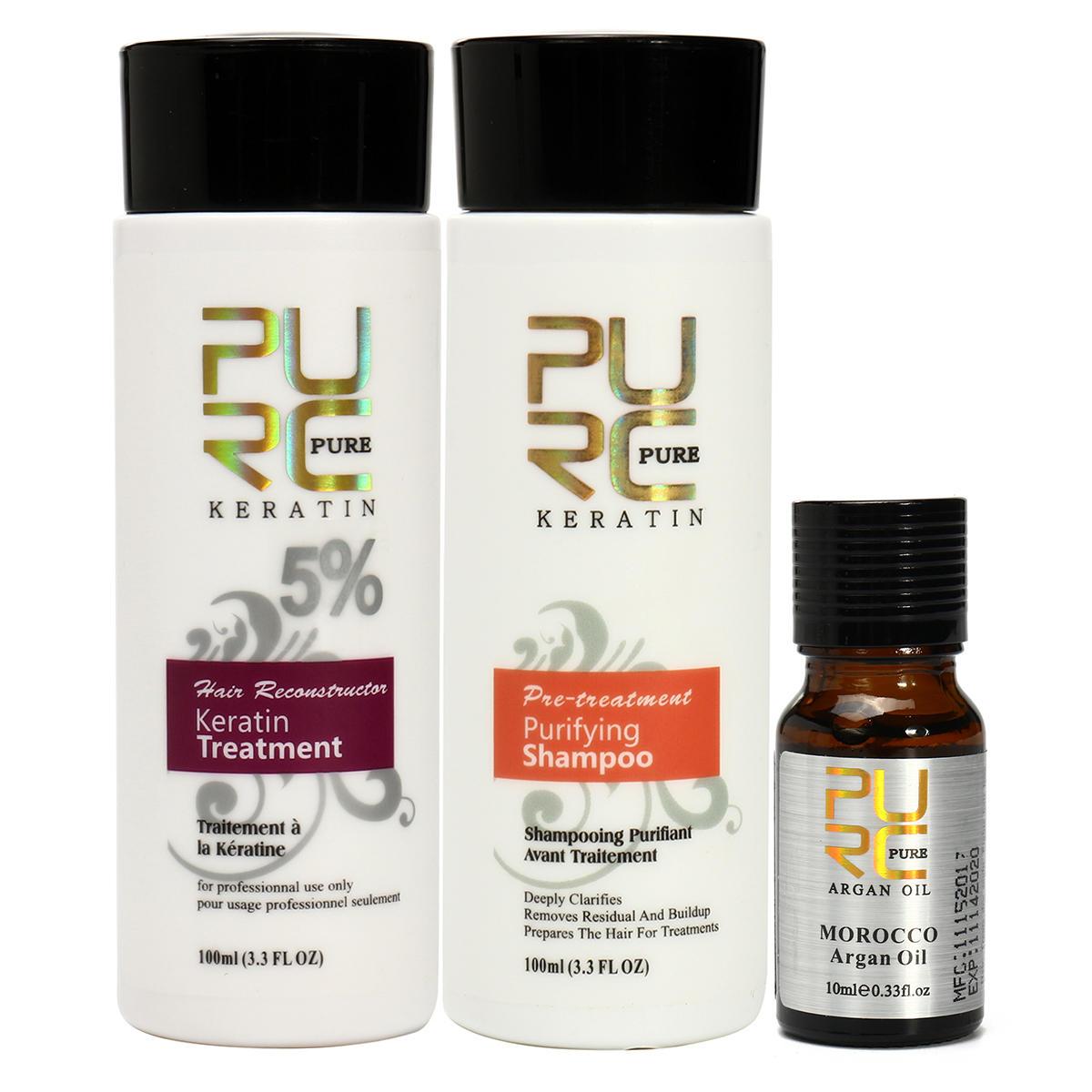 3Pcs puro brasiliano cheratina Capelli stirante trattamento shampoo Argan Olio Kit