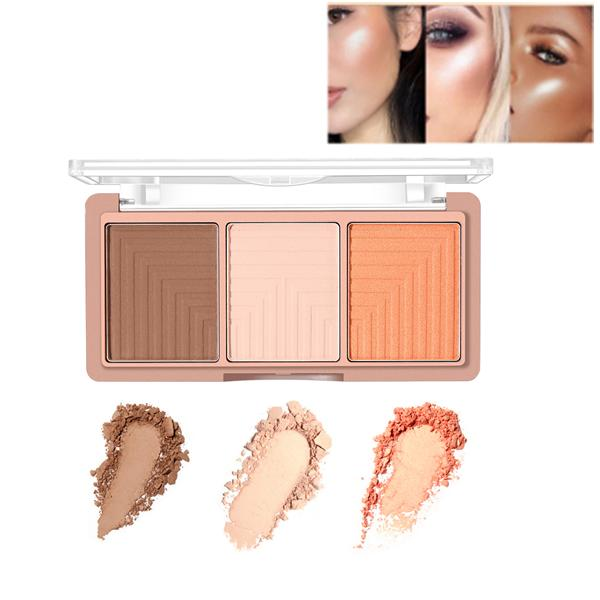 O.TWO.O 3 Colors Face Highlighter Shading Powder Palette Maquiagem Bronzer Glow Kit