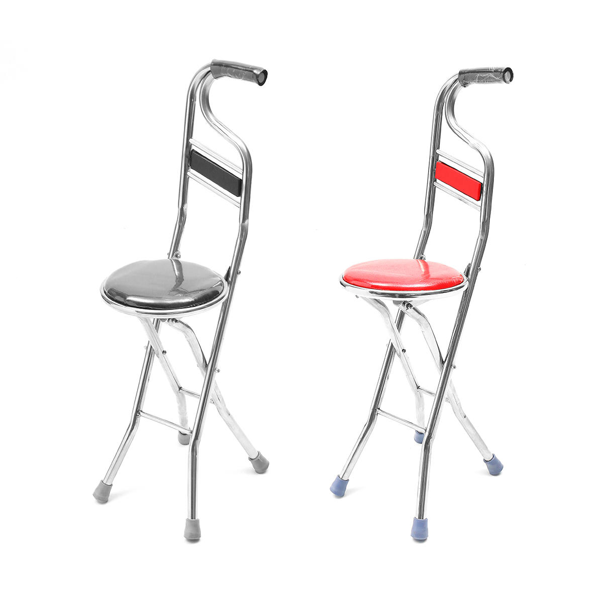 Amazing Stainless Steel Portable Folding Walking Stick Chair Seat Stool Travel Cane Pabps2019 Chair Design Images Pabps2019Com