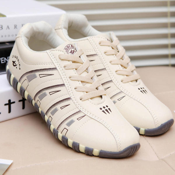 Women Casual Breathable Mesh Lace Up Non-slip Sneakers - 3