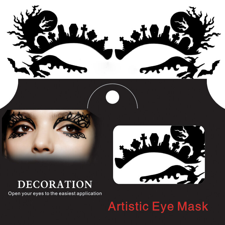 Ghost Witch Spider Halloween Eye Tattoo Sticker Squishy Spets Fretwork Papercut Masquerade
