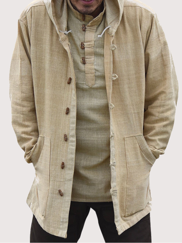 Mens Vintage Buttons Stand Collar Thick Casual Mid Long Coat - 1