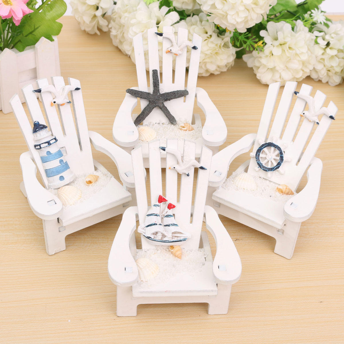 Mediterranean Style Wooden Mini Chairs Desktop Ornaments Home Garden Decoration Furnishings - 1