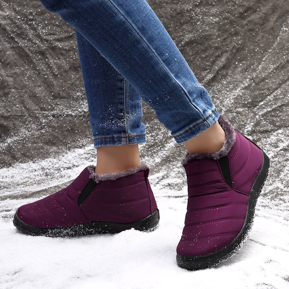 Women Slip Resistant Plush Lining Warm Snow Boots - 10
