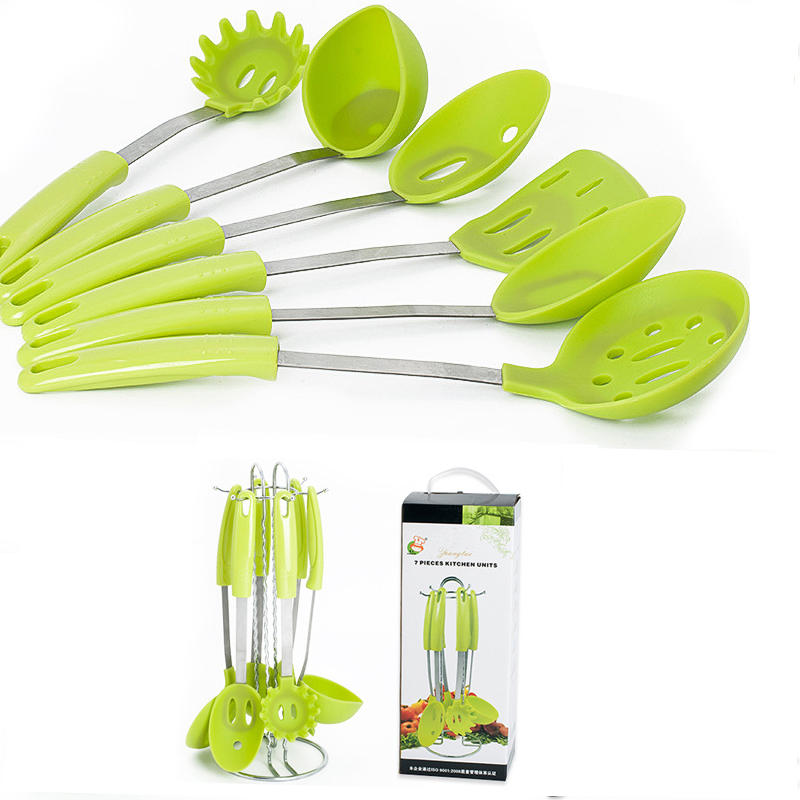 6 Pieces Stainless Steel Silicone Cooking Utensil Set with Premium Stand Cooking Spoon Spatula Soup Ladle Strainer Kitchen Supplies - 2