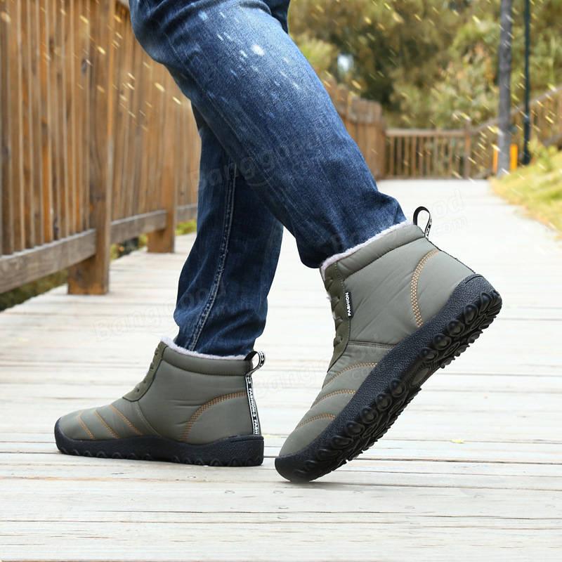 P335 En Plein Air Sport D'hiver Hommes Femmes Cheville Bottes À Lacets Trekking Travailleur Polaire Doublé Chaussures Sneakers - 5