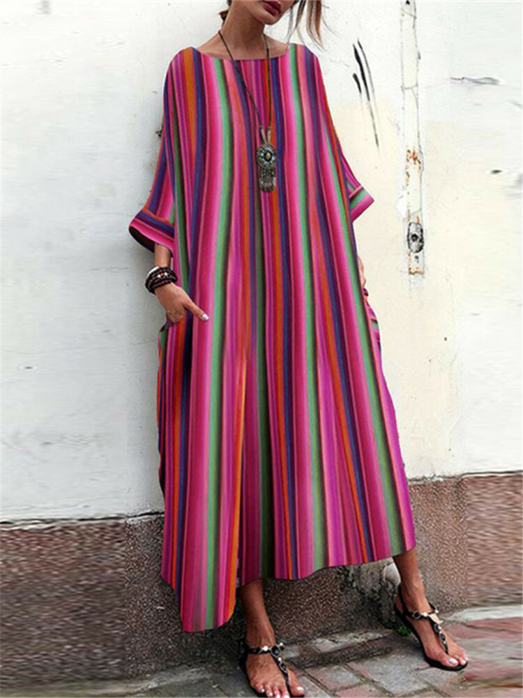 Plus Size Solid Color V-neck Holiday Casual Women Maxi Dress - 1
