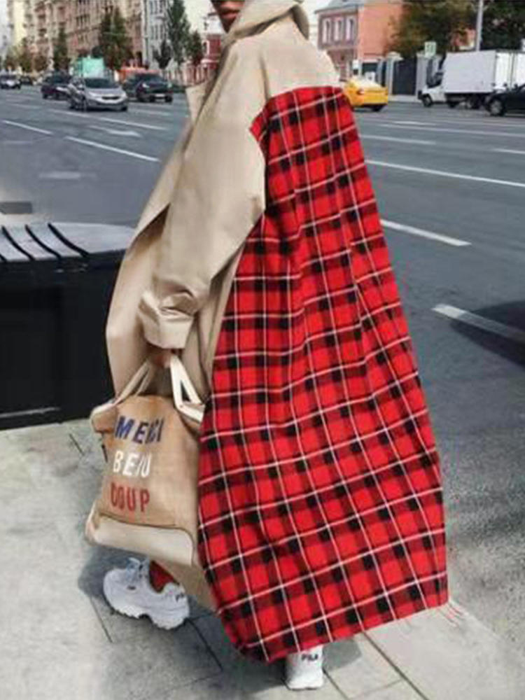Women Patchwork Checked Long Trench Coats