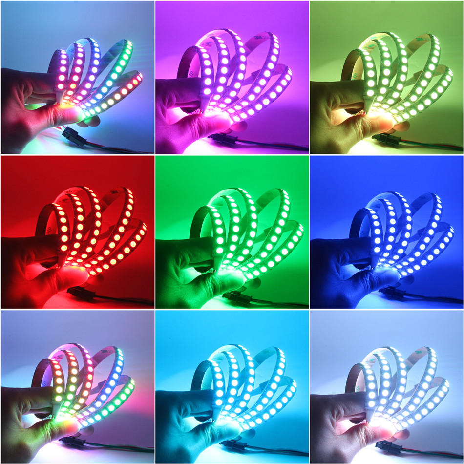 5M 90W 300SMD WS2812B LED RGB Colorful Strip Light Waterproof IP65 White/Black PCB DC5V - 9