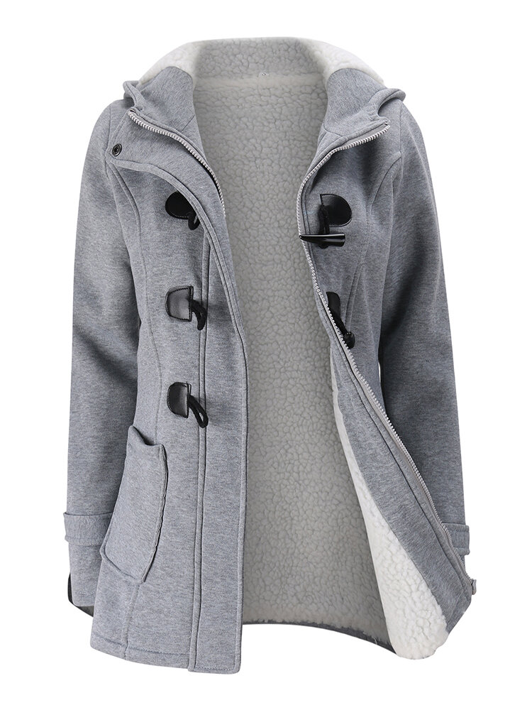 Women Long Sleeve Hooded Plaid Thick Coats - 3