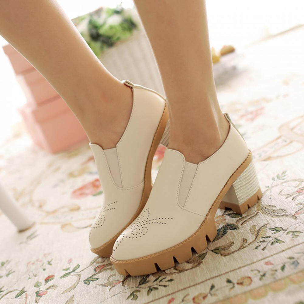 Women Large Size Hollow Out Comfy Pointed Toe Spring Flats - 10