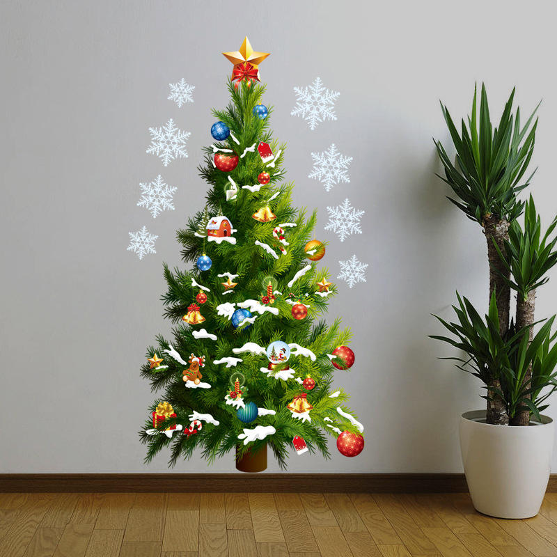 Miico 3D Creative PVC Christmas Tree Wall Stickers Home Decor Mural Art Removable Wall Decals