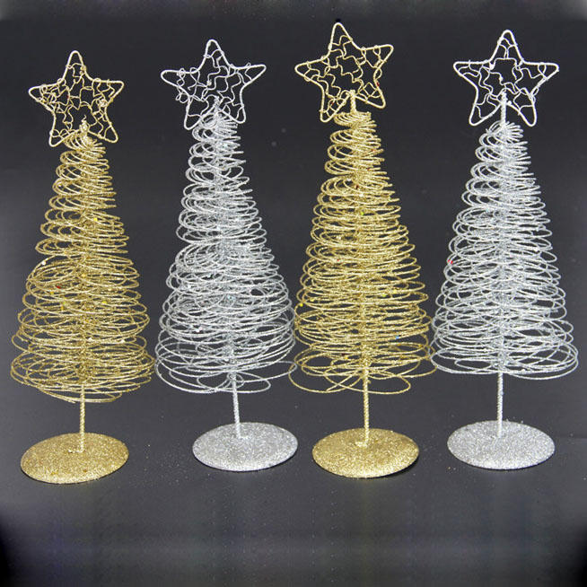 Christmas 2017 Mini Iron Christmas Tree Gold Silver Ornament Table Desk Decoration Christmas Gifts - 1