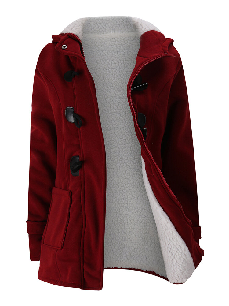 Women Long Sleeve Hooded Plaid Thick Coats - 5