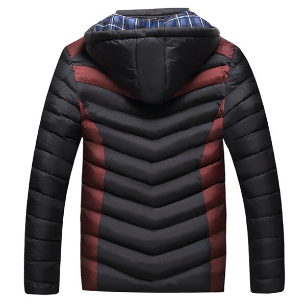 Patchwork Hooded Warm Quilted Padded Puffer Jacket for Men - 4