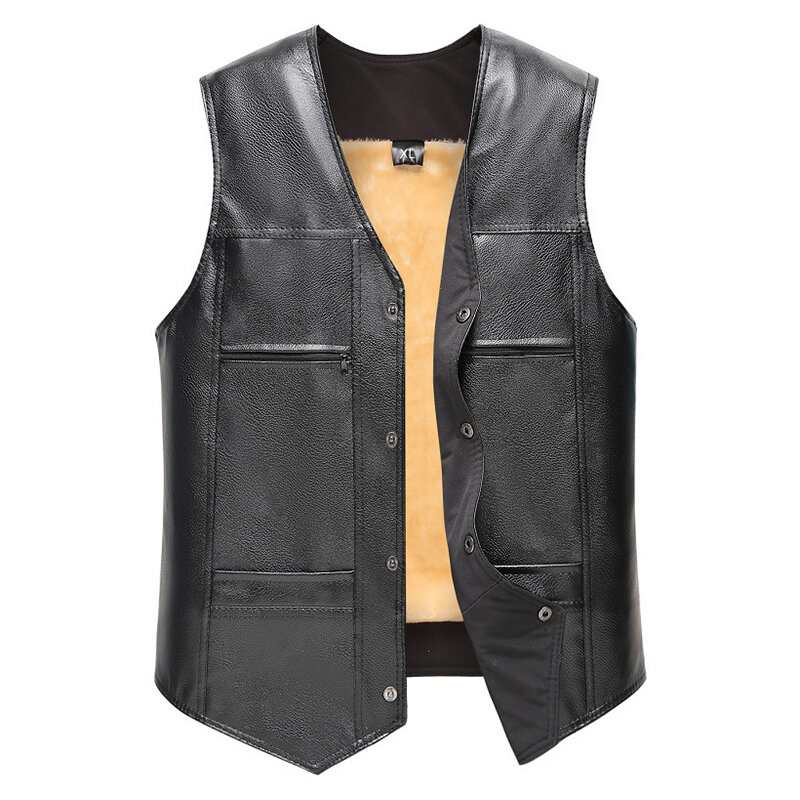 Mens Double Breasted Suit Collar Vest - 3